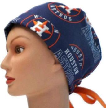Women's Houston Astros Navy Pixie Surgical Scrub Hat, Fold Up Brim, Adjustable, Handmade