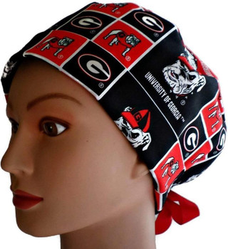 0f9a12848831a Women s Adjustable Fold-Up Pixie Surgical Scrub Hat Cap Handmade with  Georgia Bulldogs Squares fabric