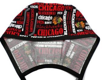 Men's Chicago Blackhawks Writing Unlined Surgical Scrub Hat, Optional Sweatband, Handmade