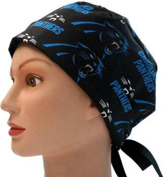Women's Carolina Panthers Black Pixie Surgical Scrub Hat, Fold Up Brim, Adjustable, Handmade