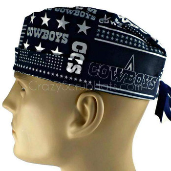 Men's Dallas Cowboys Squares Surgical Scrub Hat, Semi-Lined Fold-Up Cuffed (shown) or No Cuff, Handmade