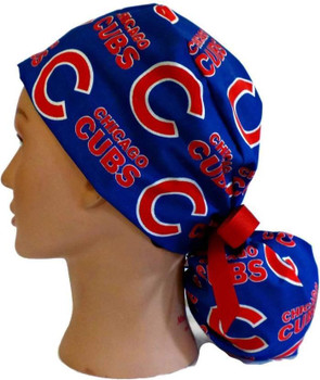 Women's Chicago Cubs Blue Ponytail Surgical Scrub Hat, Plain or Fold-Up Brim Adjustable, Handmade