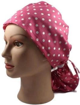 Women's Pink Dots Ponytail Surgical Scrub Hat, Plain or Fold-Up Brim Adjustable, Handmade