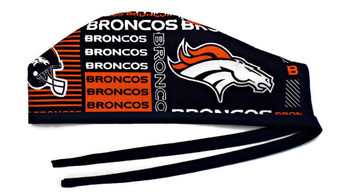 Men's Denver Broncos Squares Unlined Surgical Scrub Hat, Optional Sweatband, Handmade