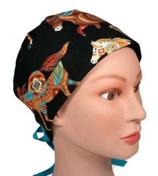 Women's Southwest Horses Out West Pixie Surgical Scrub Hat, Fold Up Brim, Adjustable, Handmade