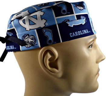 Men's North Carolina Tar Heels Squares Surgical Scrub Hat, Semi-Lined Fold-Up Cuffed (shown) or No Cuff, Handmade