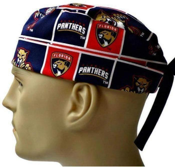 Men's Florida Panthers Surgical Scrub Hat, Semi-Lined Fold-Up Cuffed (shown) or No Cuff, Handmade