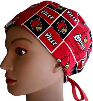 Women's Louisville Cardinals Pixie Surgical Scrub Hat, Fold Up Brim, Adjustable, Handmade