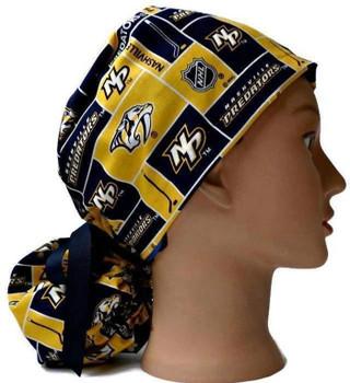 Women's Nashville Predators Squares Ponytail Surgical Scrub Hat, Plain or Fold-Up Brim Adjustable, Handmade