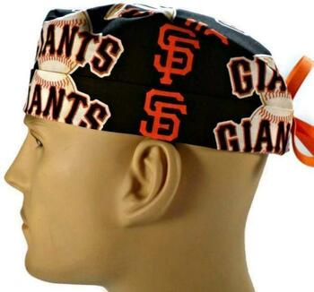 Men's San Francisco Giants Black Surgical Scrub Hat, Semi-Lined Fold-Up Cuffed (shown) or No Cuff, Handmade