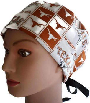Women's Texas Longhorns Squares Fold-Up Pixie Surgical Scrub Hat, Adjustable, Handmade,  Ribbon or Elastic with Cord Lock