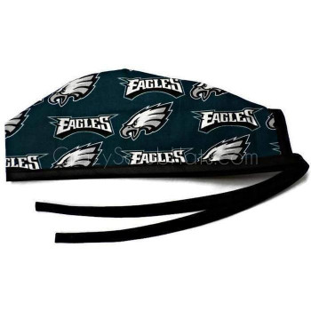 Men's Philadelphia Eagles Mascot Surgical Scrub Hat, Optional Sweatband, Handmade
