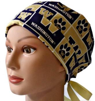 Women's Washington Huskies Squares Pixie Surgical Scrub Hat, Fold Up Brim, Adjustable, Handmade