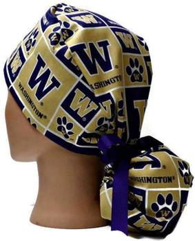 Women's Washington Huskies Squares Ponytail Surgical Scrub Hat, Plain or Fold-Up Brim Adjustable, Handmade