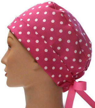 Women's Pink Dots Pixie Surgical Scrub Hat, Fold Up Brim, Adjustable, Handmade