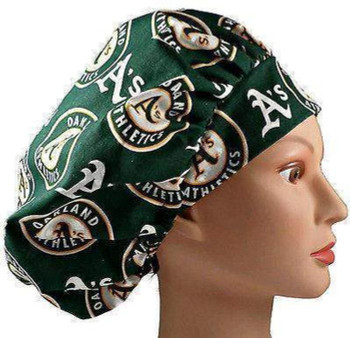 Women's Oakland A's Bouffant Surgical Scrub Hat, Adjustable with elastic and cord-lock, Handmade