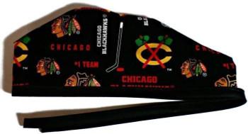 Men's Chicago Blackhawks Black Unlined Surgical Scrub Hat, Optional Sweatband, Handmade
