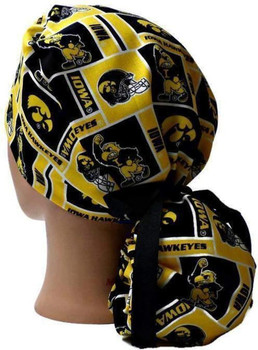 Women's Iowa Hawkeyes Squares Ponytail Surgical Scrub Hat, Plain or Fold-Up Brim Adjustable, Handmade