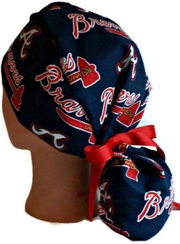 2f4c0e699c918 ... womens adjustable ponytail surgical scrub hat cap handmade with atlanta  braves fabric