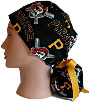 Women's Pittsburgh Pirates Ponytail Surgical Scrub Hat, Plain or Fold-Up Brim Adjustable, Handmade