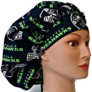 Women's Seattle Seahawks Navy Bouffant Surgical Scrub Hat, Adjustable with elastic and cord-lock, Handmade