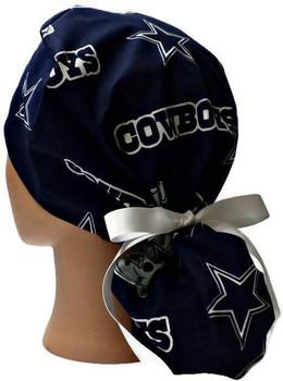 Women's Dallas Cowboys Navy Ponytail Surgical Scrub Hat, Plain or Fold-Up Brim Adjustable, Handmade