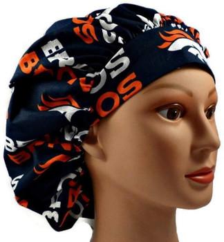 Women's Denver Broncos Navy Bouffant (shown), Pixie, or Ponytail Surgical Scrub Hat, Adjustable, Handmade