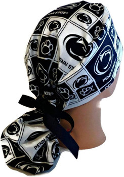 Women's Penn State Nittany Lions Squares Ponytail Surgical Scrub Hat, Plain or Fold-Up Brim Adjustable, Handmade