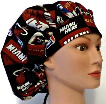 Women's Miami Heat Bouffant, Pixie or Ponytail Surgical Scrub Hat, Adjustable, Handmade
