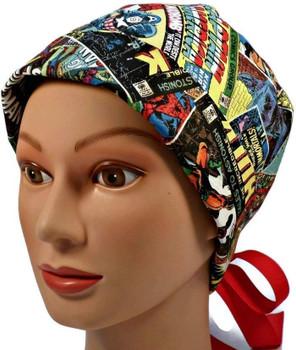 Women's Superhero Retro Pixie Surgical Scrub Hat, Fold Up Brim, Adjustable, Handmade