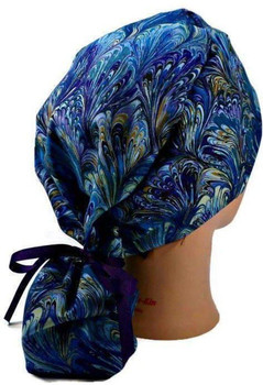 Women's Oil Slick Rainbow Ponytail Surgical Scrub Hat, Plain or Fold-Up Brim Adjustable, Handmade