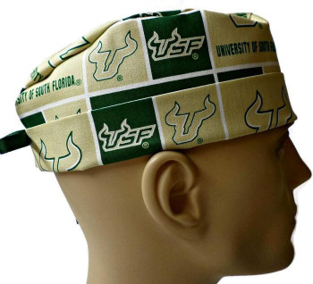 Men's USF Bulls Surgical Scrub Hat, Semi-Lined Fold-Up Cuffed (shown) or No Cuff, Handmade