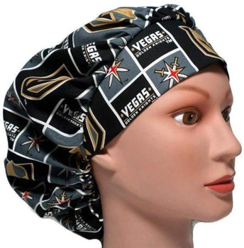Women's Vegas Golden Knights Squares Bouffant Surgical Scrub Hat, Adjustable with Elastic and Cord-Lock,Handmade