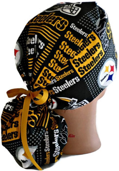 Women's Pittsburgh Steelers Squares Ponytail Surgical Scrub Hat, Plain or Fold-Up Brim Adjustable, Handmade