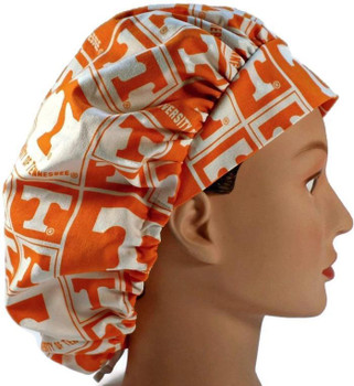 """Women's Tennessee Volunteers """"Vols"""" Squares Bouffant, Pixie or Ponytail Surgical Scrub Hat, Adjustable, Handmade"""