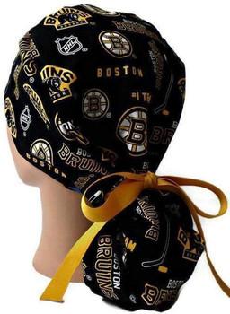 Women's Boston Bruins Two Tone Ponytail Surgical Scrub Hat, Plain or Fold-Up Brim Adjustable, Handmade