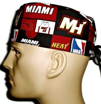 Men's Miami Heat Surgical Scrub Hat, Semi-Lined Fold-Up Cuffed (shown) or No Cuff, Handmade