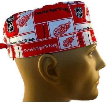 Men's Detroit Redwings Squares Surgical Scrub Hat, Semi-Lined Fold-Up Cuffed (shown) or No Cuff, Handmade