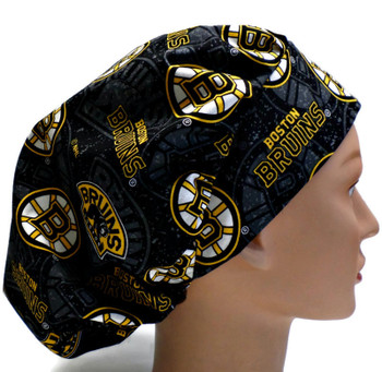 Women's Boston Bruins Two Tone Bouffant Surgical Scrub Hat, Adjustable with elastic and cord-lock, Handmade