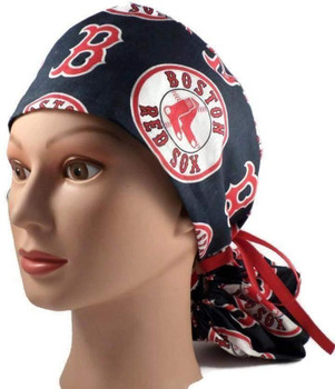 Women's Boston Red Sox Navy Ponytail Surgical Scrub Hat, Plain or Fold-Up Brim Adjustable, Handmade