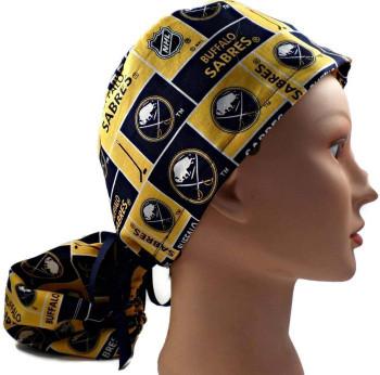 Women's Buffalo Sabres Squares Ponytail Surgical Scrub Hat, Plain or Fold-Up Brim Adjustable, Handmade