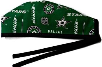 Men's Dallas Stars Green Unlined Surgical Scrub Hat, Optional Sweatband, Handmade