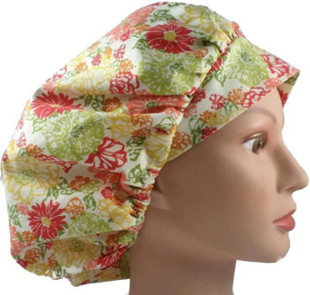 Women's Coral FLowers Bouffant Surgical Scrub Hat, Adjustable with elastic and cord-lock, Handmade