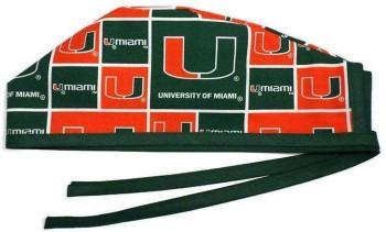 Men's Miami Hurricanes Unlined Surgical Scrub Hat, Optional Sweatband, Handmade