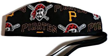 Men's Pittsburgh Pirates  Unlined Surgical Scrub Hat, Optional Sweatband, Handmade