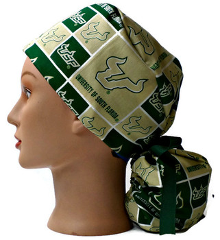 Women's USF Bulls Ponytail Surgical Scrub Hat, Plain or Fold-Up Brim Adjustable, Handmade