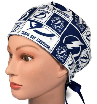 Women's Tampa Bay Lightning Squares Pixie Surgical Scrub Hat,  Fold-Up Brim, Adjustable with Elastic and Cord-Lock or Ribbon, Handmade