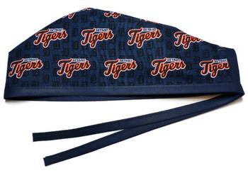 Men's Detroit Tigers Mini Unlined Surgical Scrub Hat, Optional Sweatband, Handmade