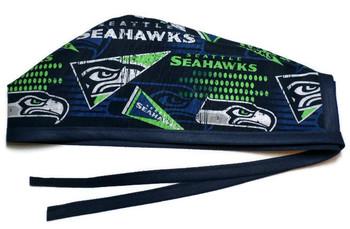 Men's Seattle Seahawks Retro  Unlined Surgical Scrub Hat, Optional Sweatband, Handmade
