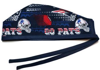 "Men's New England Patriots ""GO PATS""  Unlined Surgical Scrub Hat, Optional Sweatband, Handmade"
